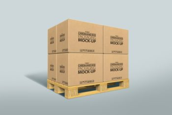 Free Cardboard Boxes on Pallet Mockup