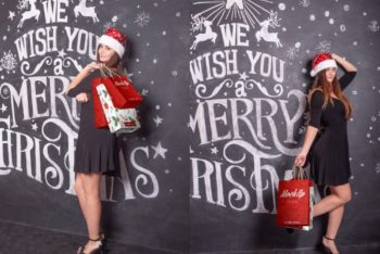 Free Lady with Christmas Shopping Bags Mockups