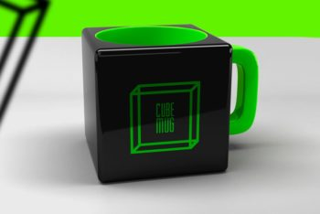 Cube Mug Mockup Freebie in PSD