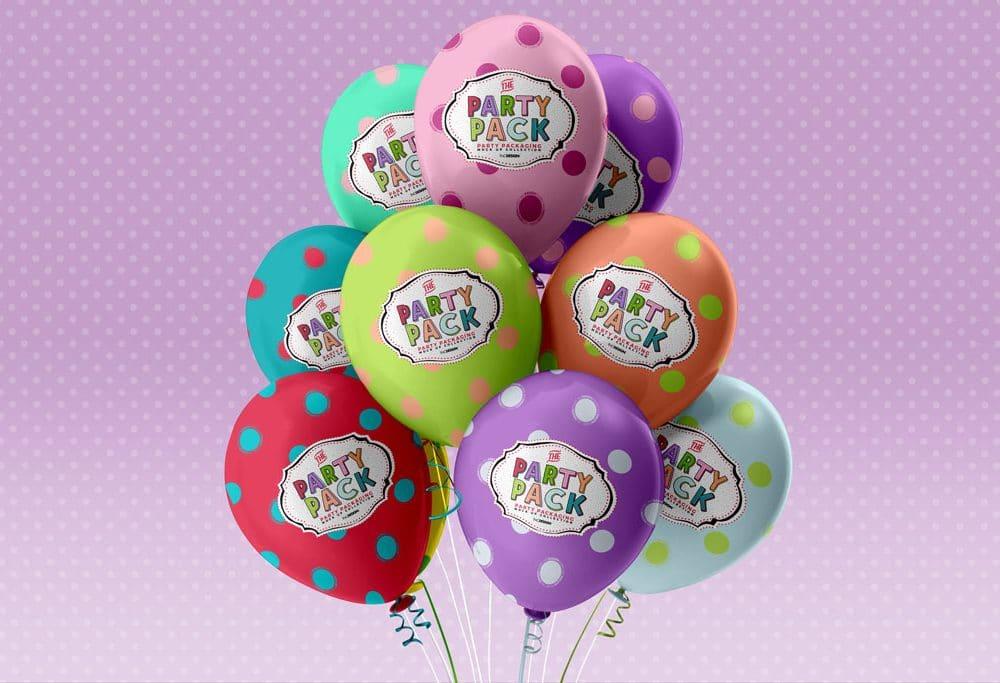 Set of Colorful Balloons Free PSD Mockup