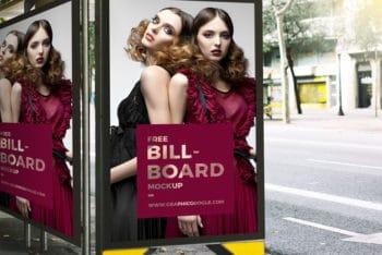 Free Outdoor Bus Stop Advertisement Billboard Mockup