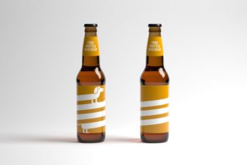 Free High-res Two Bottles Mockup Package
