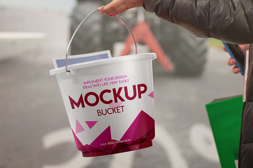 Free Bucket PSD Mockup