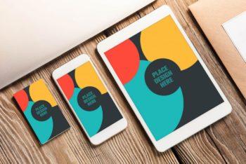 Business Card Plus Apple Devices Mockup Freebie