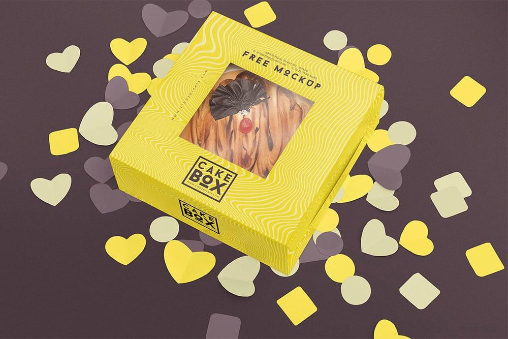 free cake box mockup