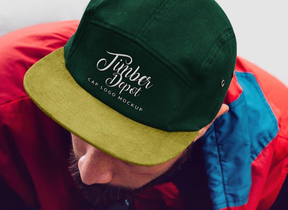 man wearing cap free mockup