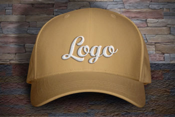 Marvelous Free Cap PSD Mockup with Woven Text Logo