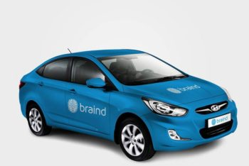 Layered Hyundai Car Mockup Freebie