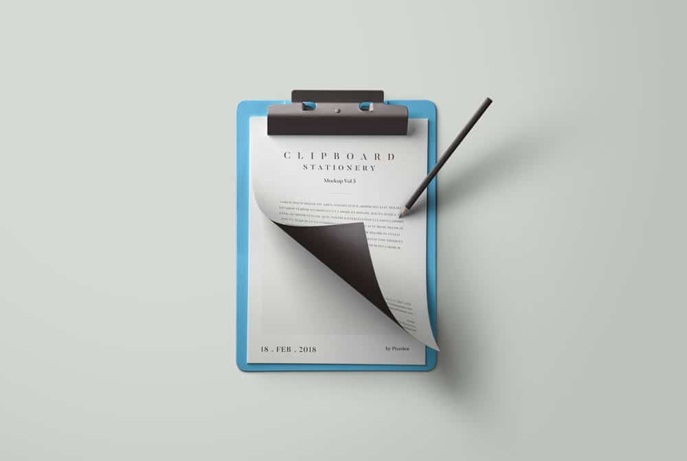 blue clipboard with stationary mockup
