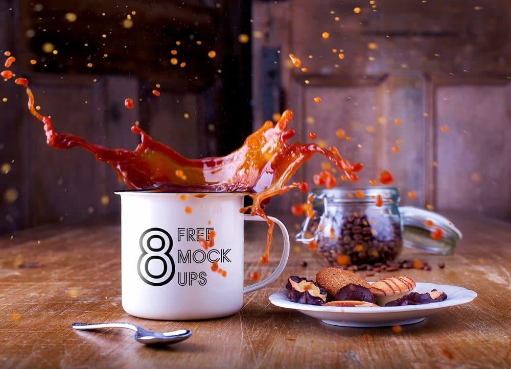 Splashing Coffee Cup Bundle Free Mockup