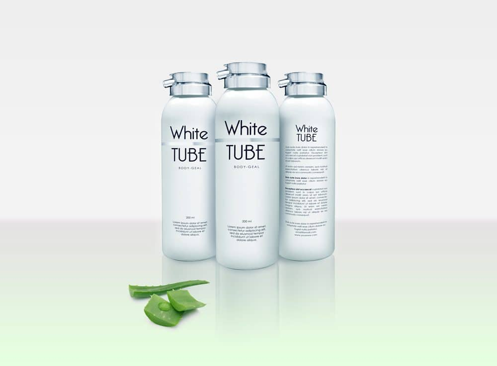 White Cosmetic Bottle with Aloe Free Mockup