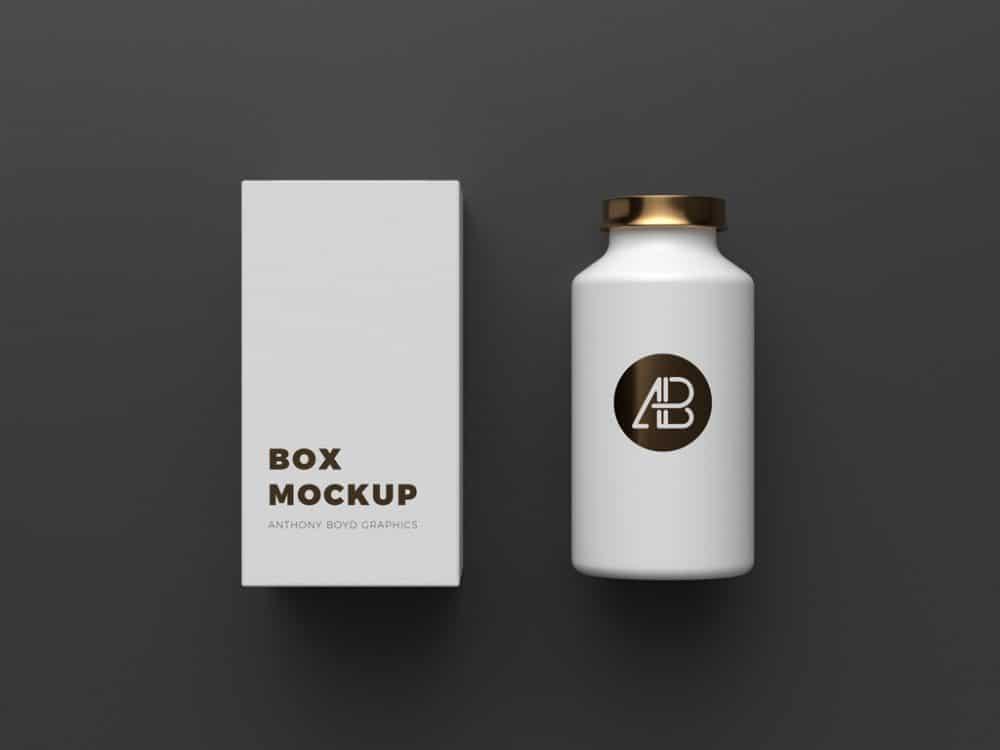 cosmetics bottle with box mockup
