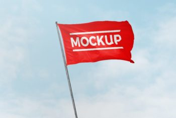 Free High-res Flag in Wind Mockup
