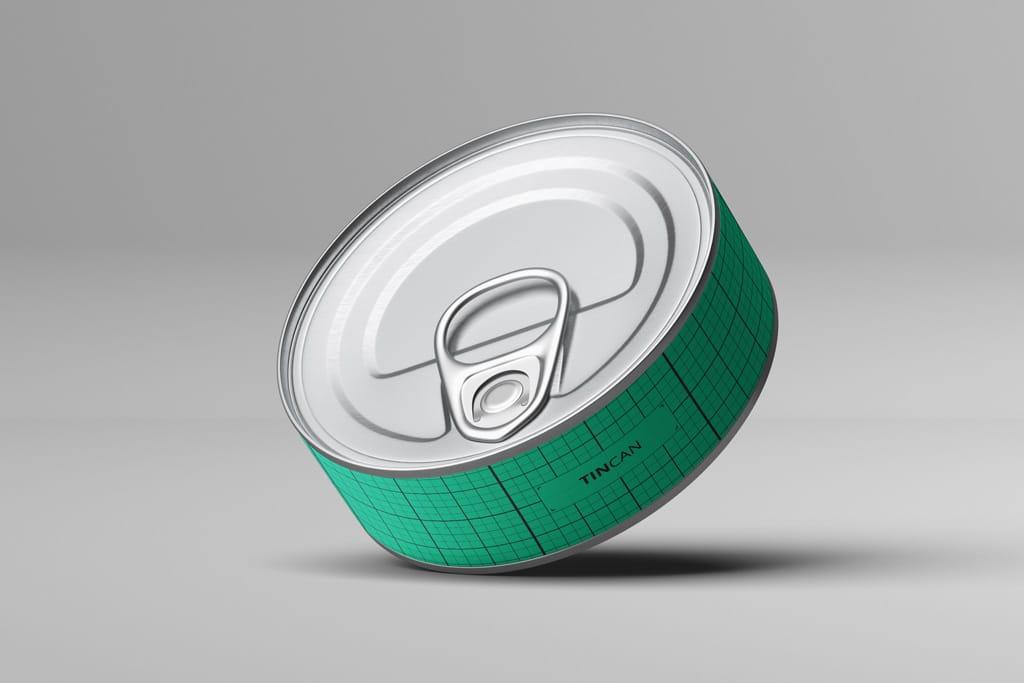 Flat Tin Cans Free PSD Mockup