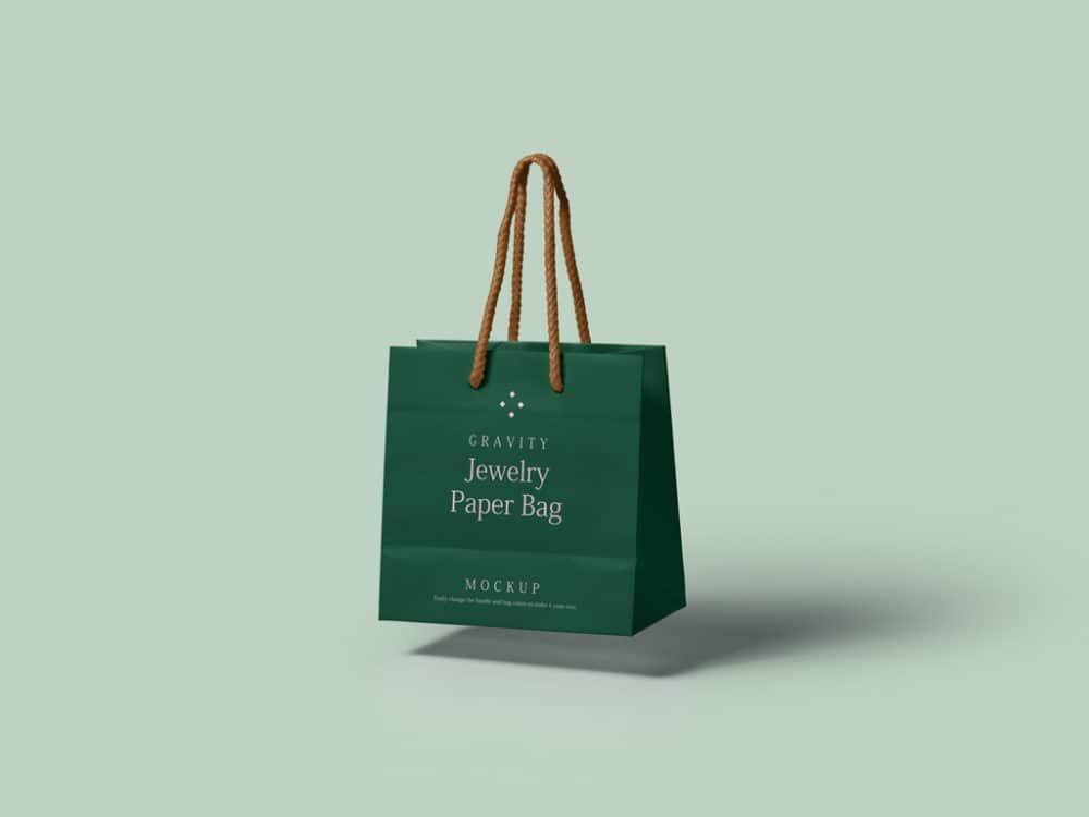 Floating Paper Shopping Bag Mockup
