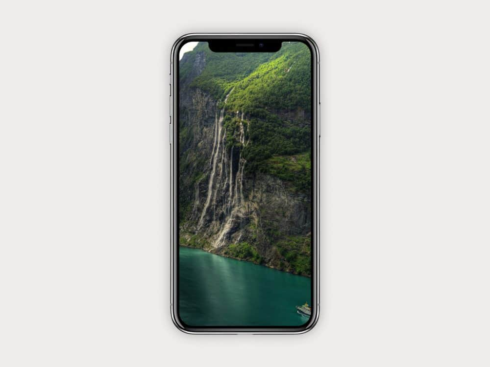 Simple iPhone X Free Mockup with Waterfalls