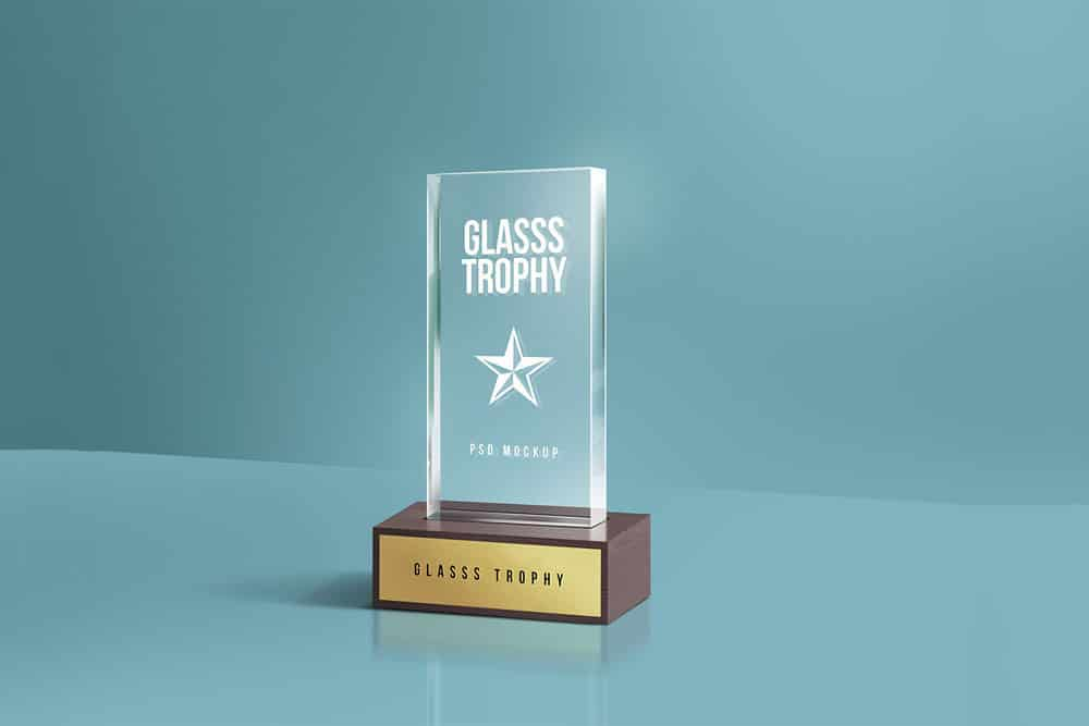 Free Glass Trophy PSD Mockup
