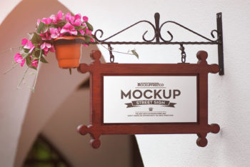 4 Free Hanging Wall Sign Mockups in PSD