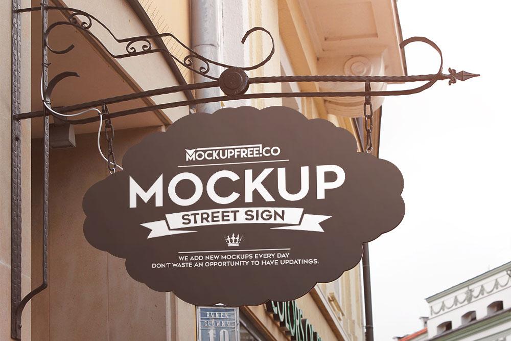 free hanging wall sign mockup