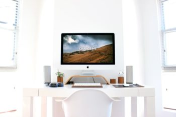 Home Desk with Free iMac Mockup