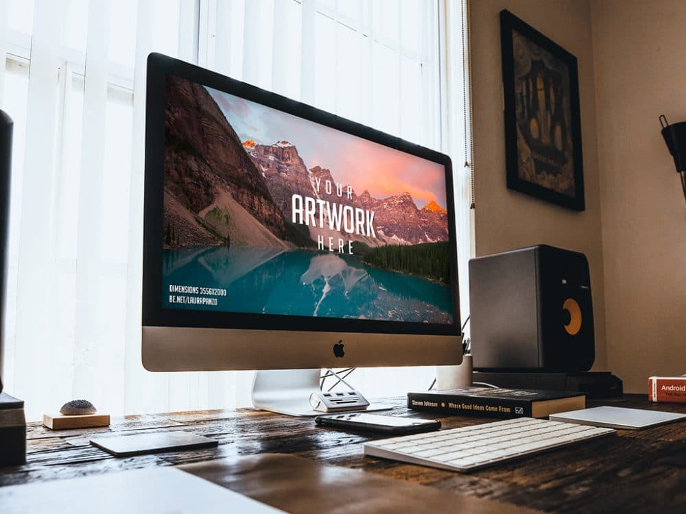 Free iMac on Wooden Desk Mockup