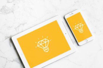 White iPad Plus iPhone Mockup Freebie