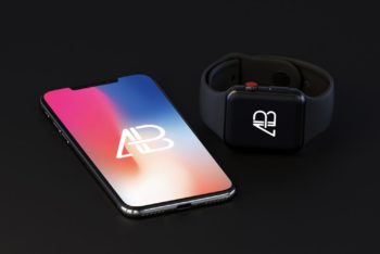 Free iPhone X and Apple Watch (Series 3) Mockup
