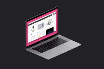 Black and Pink Isometric MacBook Pro Free Mockup