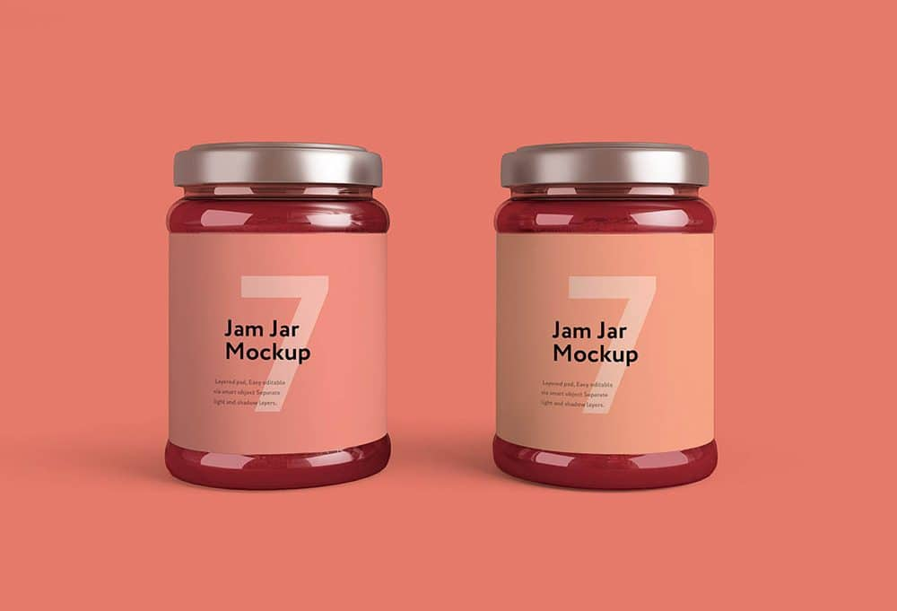 pink glass jam jar free mockup