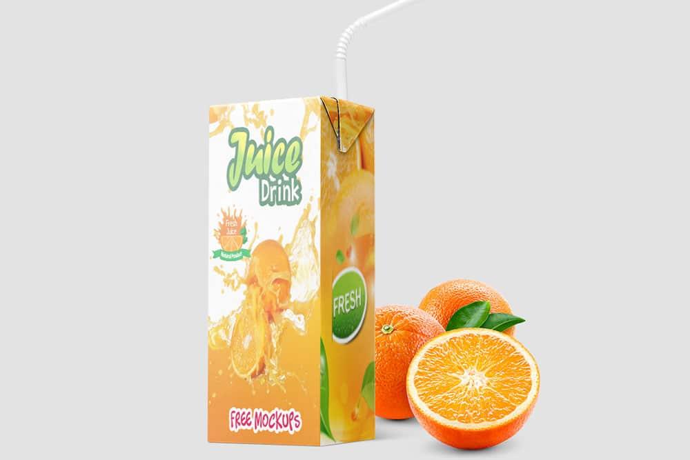 free juice box packaging mockups