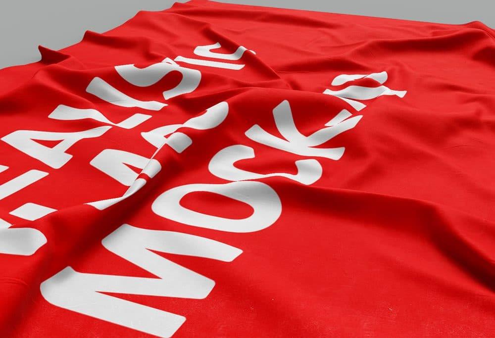 red lying flag free mockup