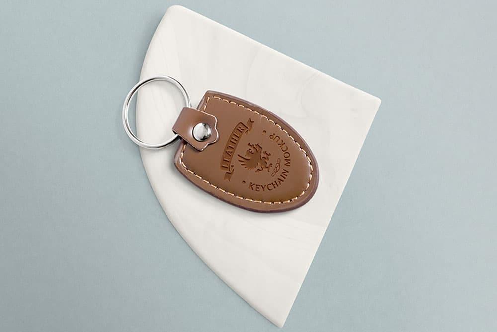 free leather keychain mockup