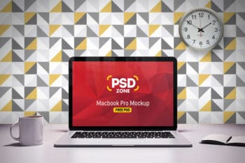 Free Macbook Pro on Desk Mockup in PSD