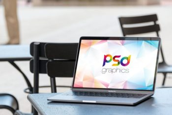 Colorful MacBook Pro in a Cafe Free Mockup