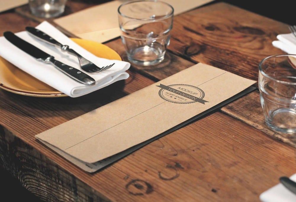 Menu Card Plus Table Mockup Freebie Designhooks