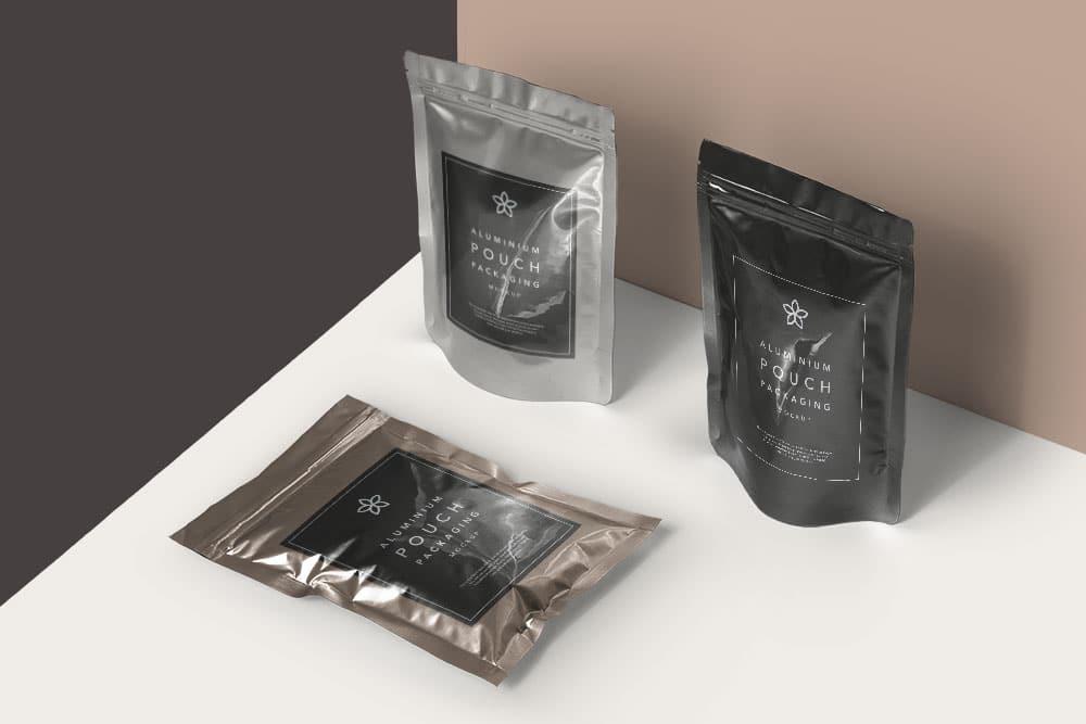 Free Metal Foil Packaging PSD Mockup