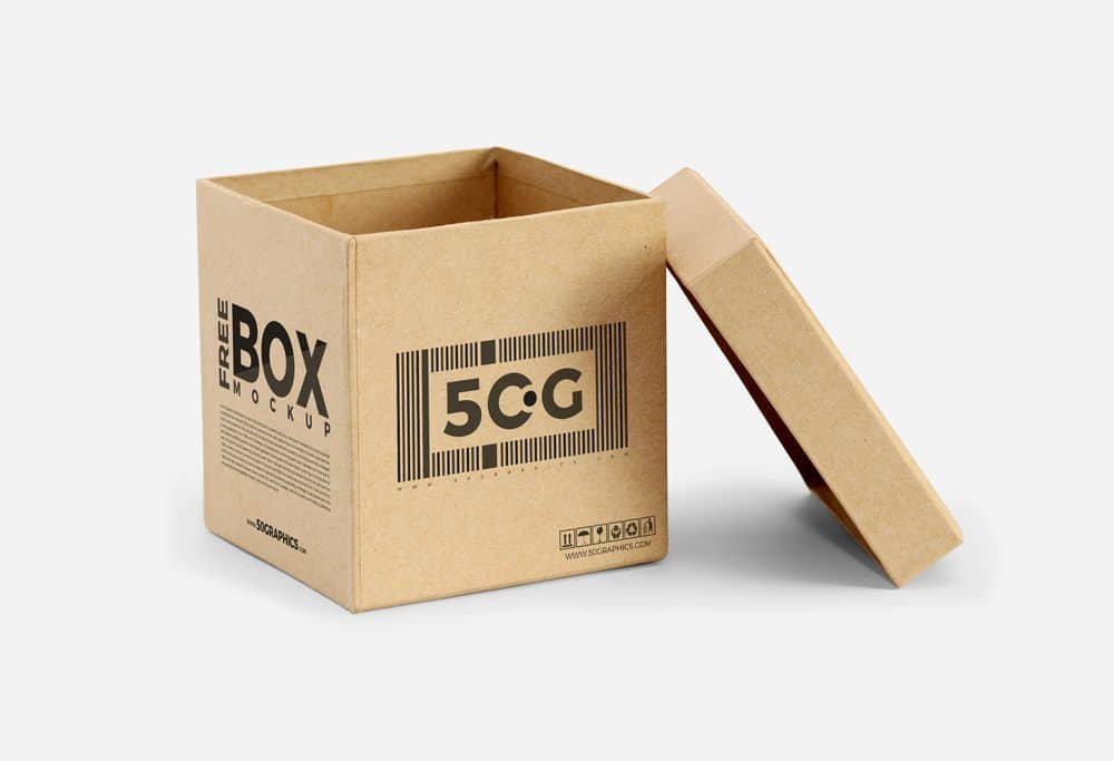 cubic-shaped open box free mockup