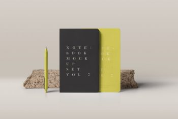 Standing Notebooks Free Mockup