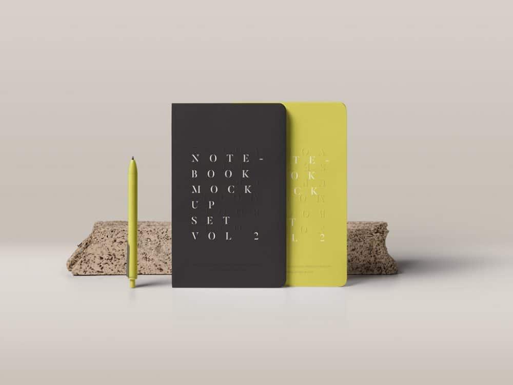 Standing Notebooks Free Mockup