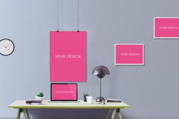 Office Wall with Pink Frames PSD Mockup