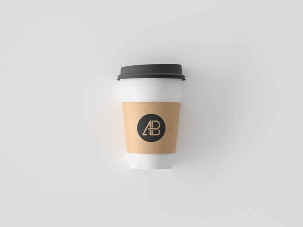 Paper Coffee Cup with Plastic Lid Free Mockup