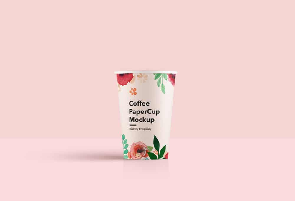 Floral Clean Paper Cup Free Mockup