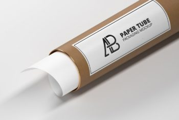 Paper Tube Packaging with Label Mockup