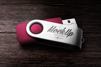 Super Cool Free Pen Drive Mockup in PSD