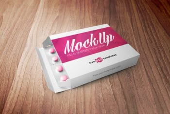 Free Pills Blister Pack Box Mockup