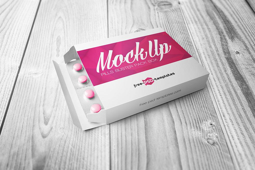 free pill blister pack box mockup