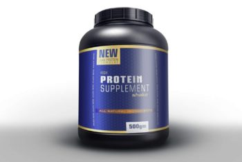 Free Protein Powder Supplement Mockup in PSD