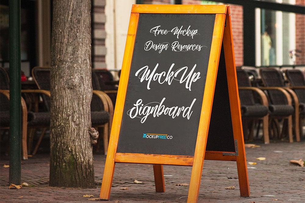 Free Signboard PSD Mockup