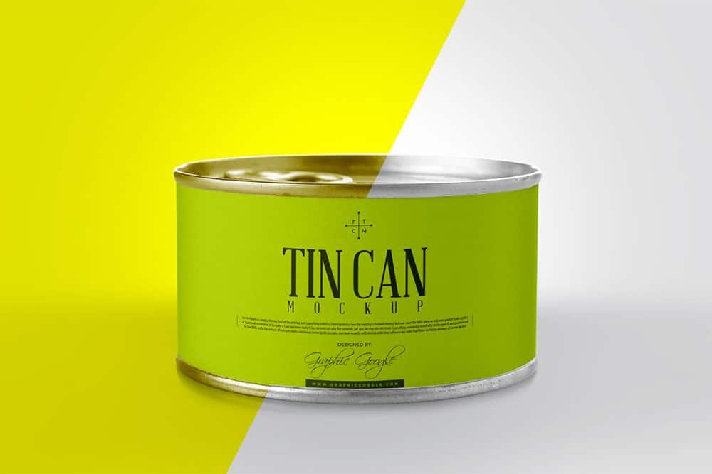 free tin can psd mockup
