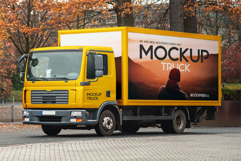 Free Truck PSD Mockup